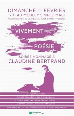 Soirée Hommage à Claudine Bertrand Vivement Poésie Le 11 Février